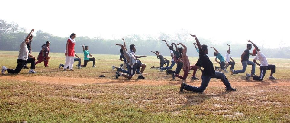 Volunteers doing excercise