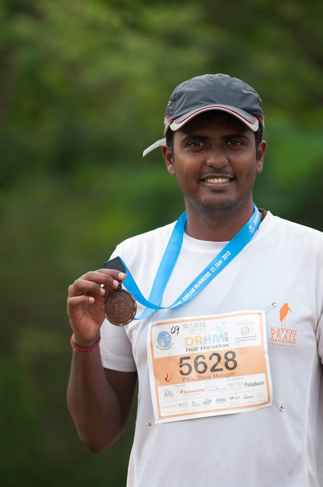 Durai with finisher medal at DRHM